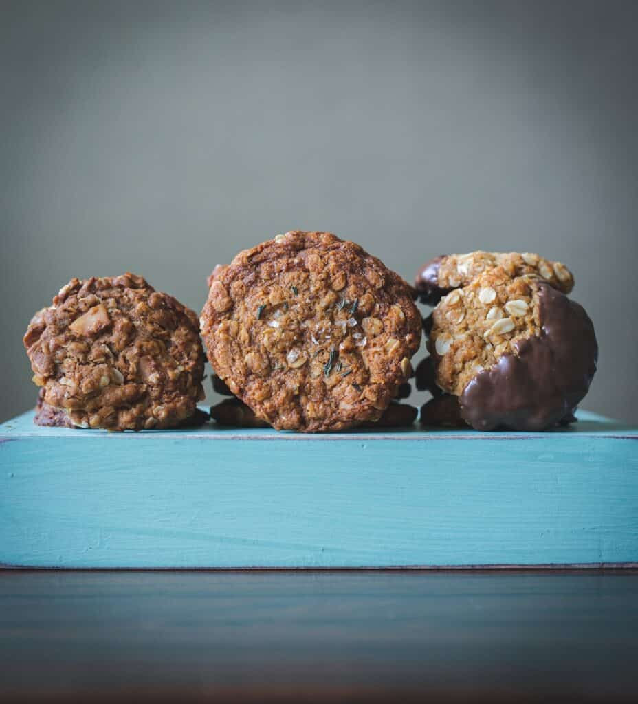 brown cookies on blue wooden table